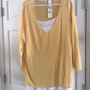Yellow and white top